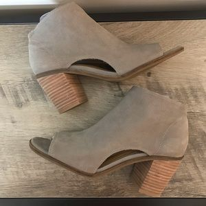 LUCKY BRAND Beige SUEDE Peep Toe ANKLE BOOTIES  7